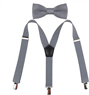 Kat Cheung Bahar 2PCS Bow Tie And Suspenders Set For Kids Boys 3 Clips Y