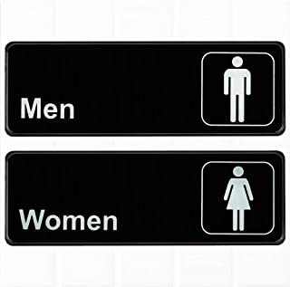 (Set of 2) Restroom Signs, Men's and Women's Restroom Signs - Black and White, 9 x 3-inches Bathroom Signs, Restroom Signs for Door/Wall by Tezzorio