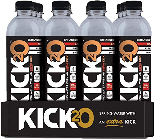 Kick2O Caffeine and Electrolyte Infused Pure Spring Water, 100 Milligrams Caffeine, 16.9 Ounce Bottles | Sugar Free Zero Calorie Energy Drink | Electrolyte Replacement | Workout Recovery (24-Pack)