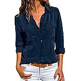 VECDY Camisa Casual De Manga Larga para Mujer Bolsillos con Cuello Abotonado Botones En La Parte Delantera Camiseta (S-Azul Marino, XL)