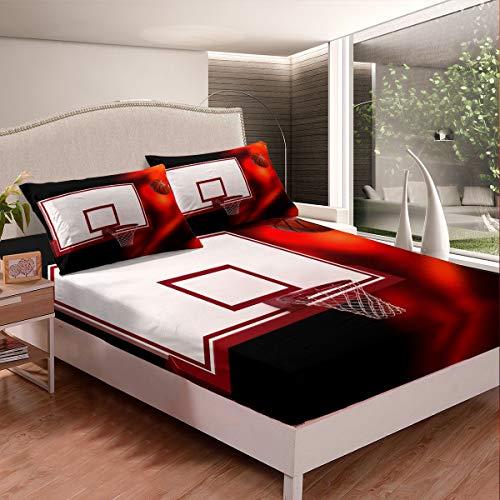 Juego de sábanas de baloncesto y baloncesto con diseño de aro para niños, niñas y niños, 3D, funda de cama ultra suave, color rojo y negro