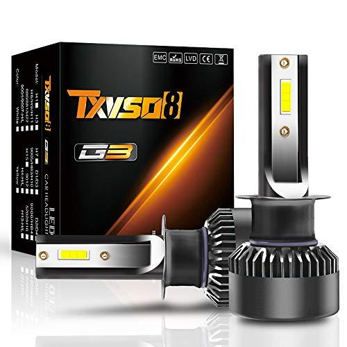 YuCarAc H1 LED Phare de Voiture, kit de Remplacement pour 12000LM 110W pour Lampes au xénon halogène, Blanc, 6000K, Convient pour Toutes Les Voitures H4, Lot de 2