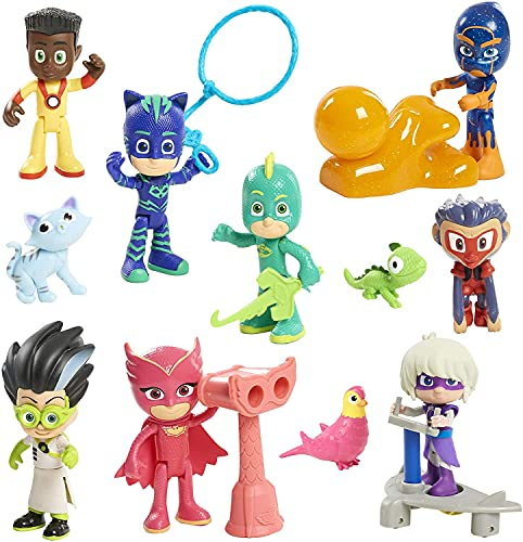 PJ-masks-Figuras Masked Héroes en Pijama y Villanos Pack de 12 PJ masksMini Figuras Pj Masks -Multicolor -para Decorar Tarta de Cumpleaños Infantil