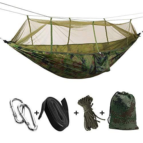 Kasoul Camping-Hängematte, Doppel- und Einzel-Camping-Hängematte, Baumgurte, Moskitonetz, Ridgeline, doppelseitig, für Camping, Rucksackreisen, Reisen und Wandern a
