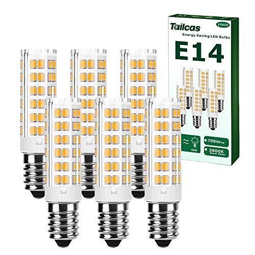 E14 Led Birne Warmweiss, 7W Glühbirne E14(65W Halogenlampen Äquivalent)15.1 mm x 65 mm, 3000K, 700Lm, AC 220-240V, Nicht Dimmbar, Ohne Flackern, für Dunstabzugshaube, Küche, Wohnzimmer (6 Stück)