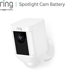 Ring Spotlight Cam Battery, HD-beveiligingscamera met led-spots, alarm, tweeweg-audio, werkt op accu | Inclusief proefabonnement van 30 dagen op Ring Protect Plus | Wit