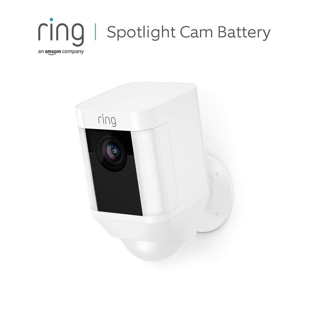 Ring Spotlight Cam Battery | Cámara de seguridad HD con foco LED, alarma, comunicación bidireccional, funciona con batería | Incluye una prueba de 30 días gratis del plan Ring Protect