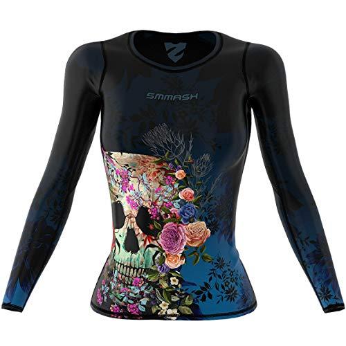 SMMASH Muerte Damen Langarm Top, Atmungsaktiv und Leicht Compression Shirt, Longsleeve Damen, Gym Top, Funktionsshirt für Crossfit, Fitness, Yoga, Sport Langarmshirt, Hergestellt in der EU (XL)