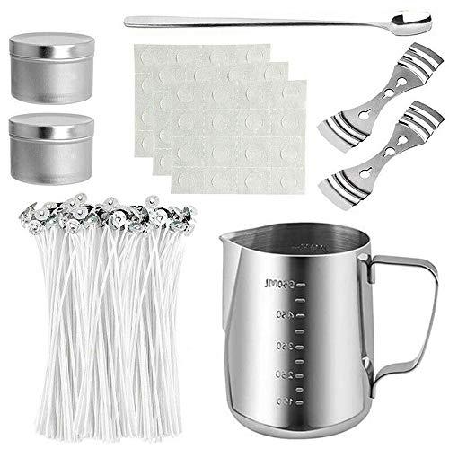 Merssavo Kit para fabricar Velas, Que Incluye Recipiente para fabricar Velas, mechas para Velas, Adhesivo, Soporte para mechas, latas de Metal y Cuchara