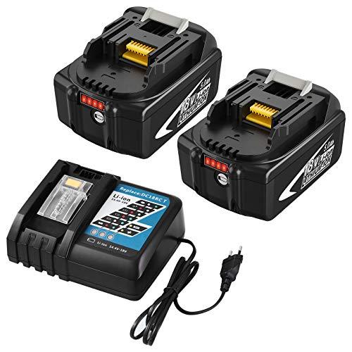 Boetpcr 2 Piezas 5.0Ah BL1850B de Repuesto para Batería de 18 V BL1850B BL1860 BL1850 BL1840 BL1830 LXT-400y DC18RCT Cargador para Batería LXT de 14,4 V-18 V