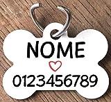 Medaglietta PERSONALIZZATA cane forma di osso NOME telefono bianca cuore rosso