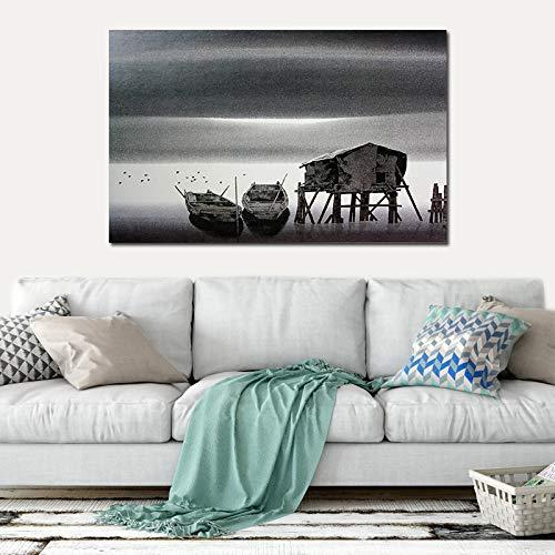 Pinturas modernas de barcos en blanco y negro Nodic Classical Living Room Wall Art Posters Estudio Paisaje Decoración del hogar Cotizaciones 50x75CM Sin marco