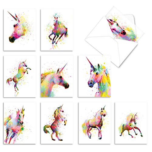Funky Rainbow Unicorns - Box of 10 Blank Greeting Cards with Envelopes (4 x 5.12 Inch) - Watercolor Painted Horses, All-Occasion Note Cards for Girls, Women - Boxed Stationery AM6748OCB-B1x10