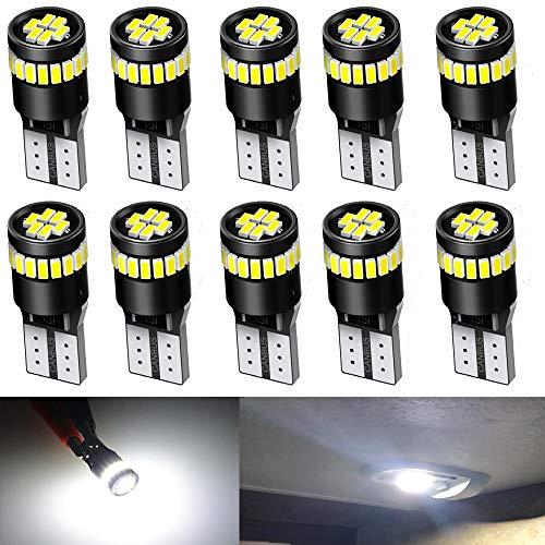 Qoope -10 Stück T10 Canbus Fehlerfreie Glühbirne für beleuchtung lampen ersetzen die Birne 501 194 168 2825 (12V-Weiß)