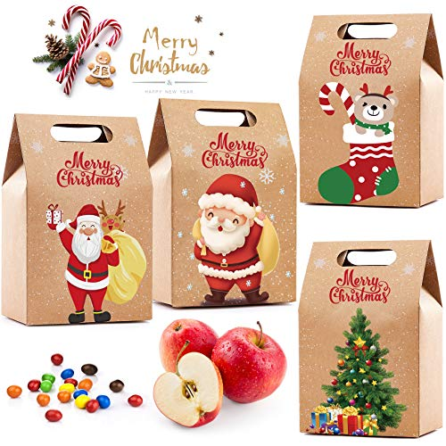 Gimsan Geschenktüten, Weihnachtsdeko 20 Stücke Geschenktüten Weihnachten mit Griff Kraftpapier, Geschenkbox für Weihnachten Deko Geburtstag
