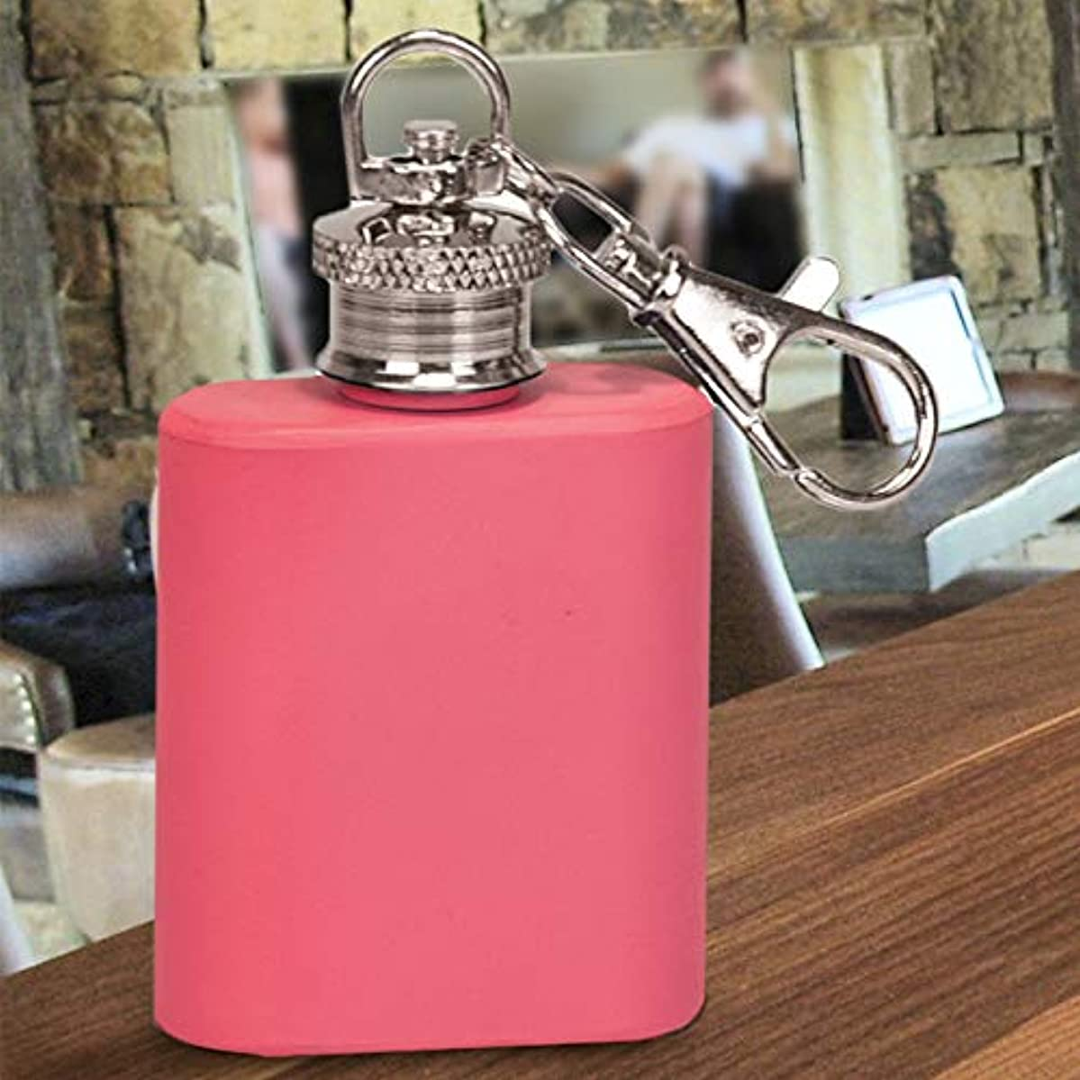 Center Gifts Pink Mini Key Chain Flask 1 Oz Personalized | Stainless Steel Flask Keychain | Wedding Gift for Bridesmaids, Bachelorette Party, Girls Night Out | Engrave with Name or Message