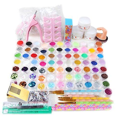 78tlg Nail Art Acryl Set acrylic Nagelset Nageldesign Starterset Acrylpulver Glitzerpuder Pailette Glitter Nagel Kunst Tips Kit