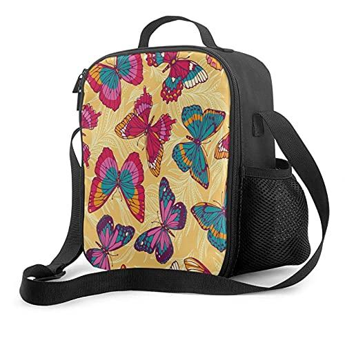 Bolsa de almuerzo con aislamiento para preparación de comidas Mariposas de colores en bronceado Cooler Fiambrera térmica Pequeña y bonita Bolsa de asas para el almuerzo escolar Fiambrera fresca para