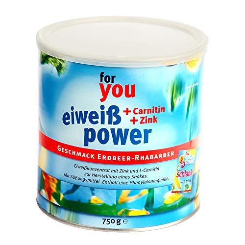 for you Power Eiweiß nach Strunz I Eiweißpulver Erdbeer-Rhabarber 750g I mit Carnitin Whey-Protein Sojaprotein Milchprotein I Biologische Wertigkeit 156 I Mehrkomponenten Protein Pulver