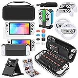 Auarte Tasche und Zubehör Set kompatibel mit Nintendo Switch OLED Modell, Switch Tragetasche und Schutzkit, Switch Bundle EIN Super Set Kompatibel mit Switch OLED
