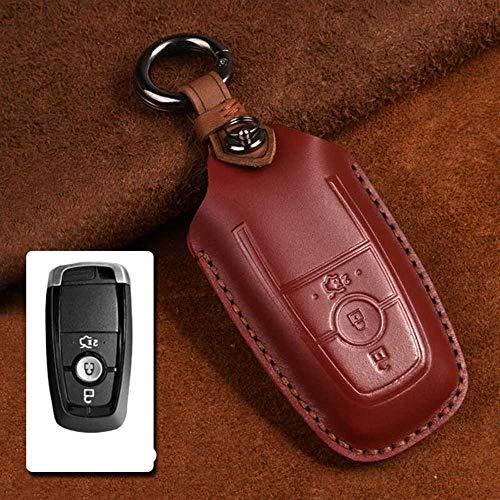 NASHDZ Funda de Cuero para Llave de Coche, para Ford Fiesta Focus 23 MK2 MK3 Mondeo MK4 Ecosport Kuga Escape Explorer