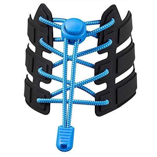 WLONLINE Cordones elásticos para niños y Adultos, sin Cordones, Cordones, Botas y Zapatos Casuales (Azul)