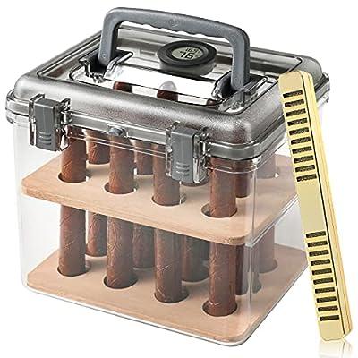 Cimidore Clear Acrylic Cigar Humidors.12-50 Capacity Humidor.with Digital Hygrometer,Handmade Spanish Cedar Wood.Travel Humidor Cigar Box/Case/Jar.