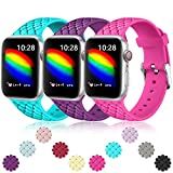 Haveda Breathable Bands Compatible for Apple Watch 40mm Series 6 Series 5/4, Sport Weave Pattern Bands for Apple Watch SE Women, iWatch 38mm Series 3/2/1 Men 38mm/40mm S/M 3Pack (Teal/Purple/Rose)