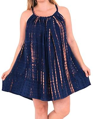 LA LEELA Women's Beach Dress Summer Casual Elegant Party Dress US 14-16W [L- 1X] Navy Blue_D632