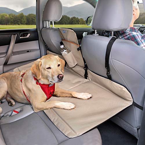 Kurgo Hunde Autositz Brücke - Rücksitzbank Verlängerung für Hunde - Rücksitz Barriere mit Sitz-Erweiterung für Hunde - wasserfest, wendbar, Für Hunde bis 45 kg - in den Farben Schwarz und Sand