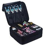 INOVERA (LABEL) Nylon Professional Cosmetic Makeup Kit Storage Organizer Travel Toiletry Vanity Bag with Adjustable Compartment, 26l x 23b x 9h cm (Black)