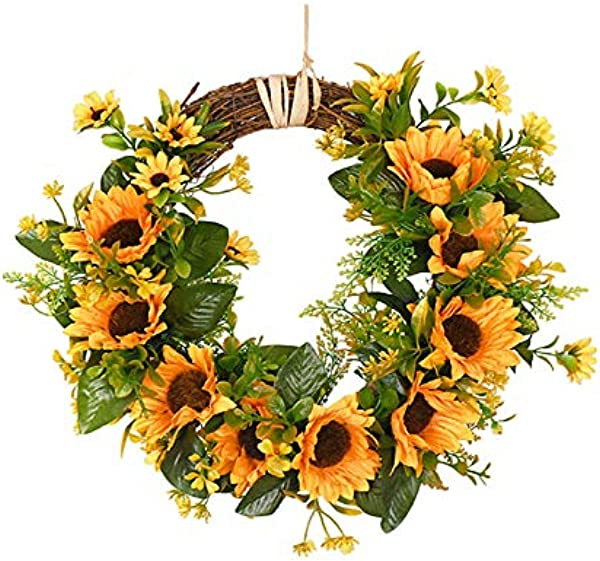 Takefuns 30cm Sunflowers Flowers Greenery Wreath Summer Fall Celebrate Handcrafted Door Wreath Wildflowers Decoration