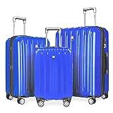 Fochier Bagagli 3 Pezzo Fissato Espandibile Hard Shell Spinner Valigia Leggera(20' 24' 28'),Azzurro
