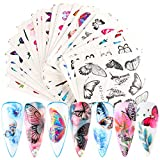 30 Sheets Butterfly Nail Art Sticker Decals Nail Art Decorations Butterfly Flower Designs Water Transfer Slider Tattoo Nail Art Tips Charms Full Cover Butterfly Nail Art for Manicure Decor Wraps