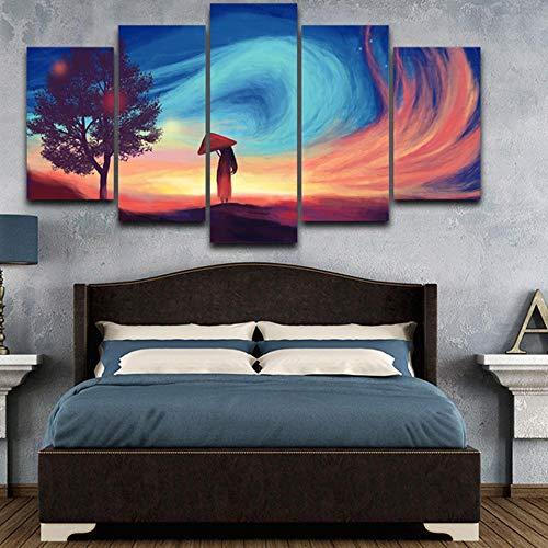 kaxiou Modulare Leinwand HD-Drucke Malerei Wohnkultur 5 Stück Das Mädchen mit roten Regenschirm Bilder Abstraktes Poster Wohnzimmer Wandkunst