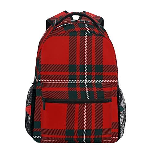 Rucksack für Damen und Herren, Vintage-Stil, kariert, klassisch, Rot/Schwarz