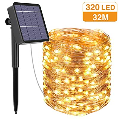 Kolpop Solar String Lights, 105FT 320 LED Solar Fairy Lights 8 Modes Copper Wire Solar Powered String Lights Outdoor Waterproof Decoration Lights for Garden Patio Party Christmas Tree Warm White