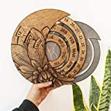 neversaynever Wooden Hanging Perpetual Calendar, Rotatable Circular Perpetual Calendar Hand-Carved DIY Adjustable Calendar, Desk Clock Home Decor Unique Gift for Kids On Birthday/Christmas Day