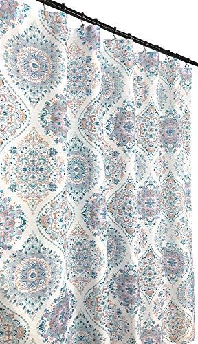 Duschvorhang aus Damaststoff, Blumenmuster, elegant, marokkanisch, Blaugrün, Violett, Orange auf Weiß