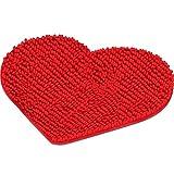 Mudder Alfombra en Forma de Corazón San Valentín Alfombra Ducha de Peluche de Corazón Alfombra de Piso Decorativa Felpudo Lavable Antideslizante Alfombra de Bienvenida, 20 x 24 Pulgadas (Rojo)