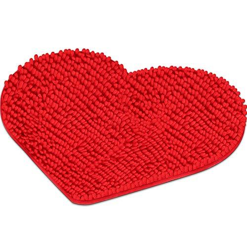 Mudder Tappeto Forma di Cuore Valentine Tappetino Decorativo Amore Tappetino Doccia Cuore Shag Zerbino Lavabile Antiscivolo Tappeto d'Ingresso per Divano Pavimento Bagno, 20 x 24 Pollici (Rosso)