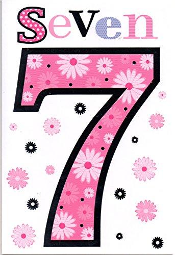 Kinderen Verjaardagskaart voor Zeven (7) Jaar Oud Meisje - Gratis 1e Klas Post (UK)