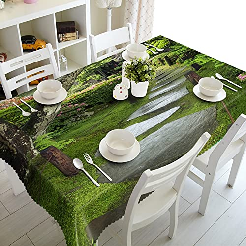 Bishilin Square Table Clothes, Waterproof Tablecloth Mountain Path Pattern Polyester Green 140 x 140 cm (55' x 55')