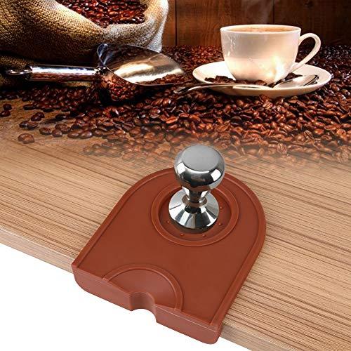Espresso Handstampfer, Multifunktionsverdickung Anti-Rutschfestigkeit Kaffee-Manipulationshalter Silikonkissenmatte(Braun)