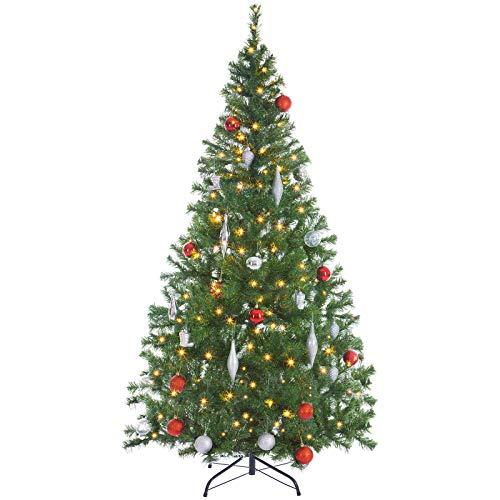 Casaria Weihnachtsbaum 150 bis 180 cm Ständer LED Lichterkette künstlicher Tannenbaum Weihnachten Baum PVC Grün 180 cm