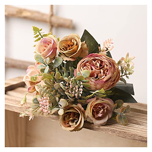 XIAOXUANMY Künstliche Blumen Weiß Seide Künstliche Rosen Blumen Hochzeit Home Herbst Dekoration Hohe Qualität Großer Blumenstrauß Luxus Fake Blume (Color : Coffee Green)