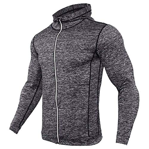 N\P Sudadera con capucha para hombre con cremallera de manga larga para correr camiseta de hombre con capucha