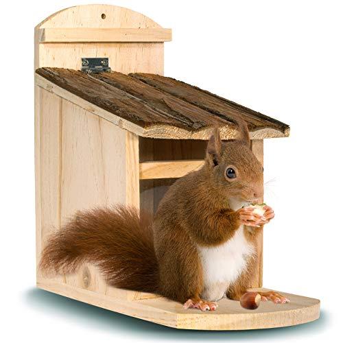 Comedero para ardillas con techo abrible | Estación de alimentación de madera para ardilla | Fácil de llenar y limpiar