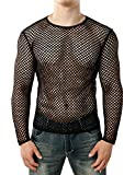 JOGAL Men's Mesh Fishnet Fitted Long Sleeve Muscle Top Large WG04 Black