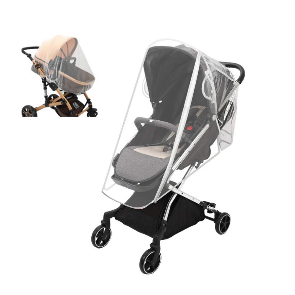 Baby Stroller Rain Cover Double Long Zipper Baby Stroller Windproof,Spray-Proof,Dust-Proof Cover(White-M)